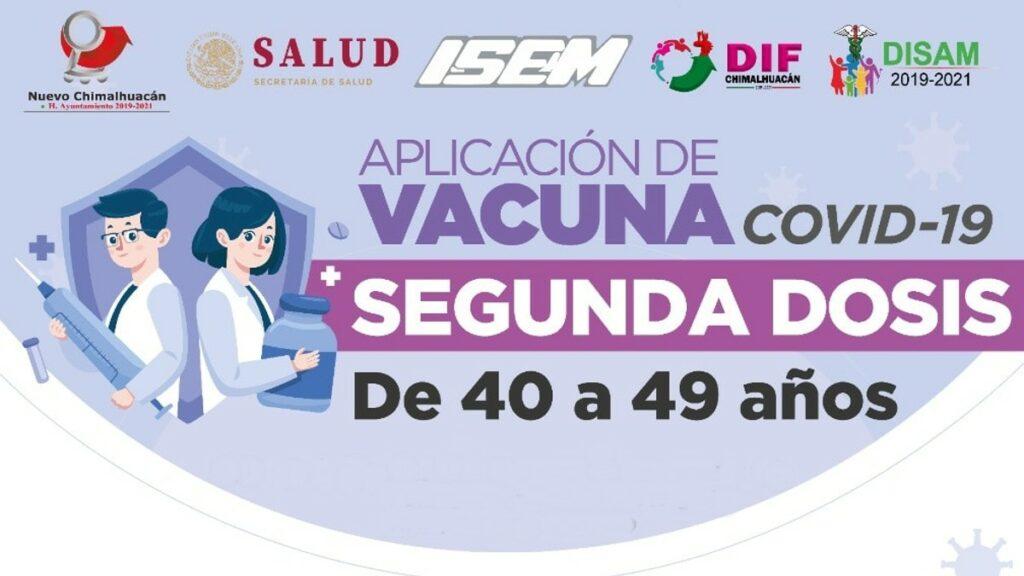 Segunda dosis vacuna Covid Chimalhuacán 40 a 49 años Foto: Especial